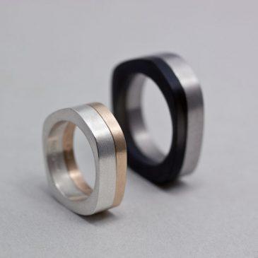 Dam och herr ringar i guld, silver, titan och akryl. Women and men's rings in gold, silver, titanium and acrylic.