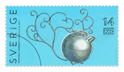 Märkligt, min silverkanna hamnar på ett frimärke!