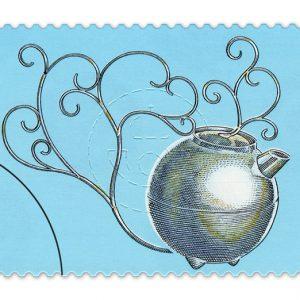 """Min silverkanna på ett av frimärkena i postens utgåva """"Järn möter Silver""""."""